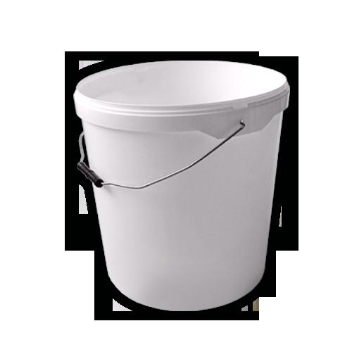 Round Plastic Bucket, White