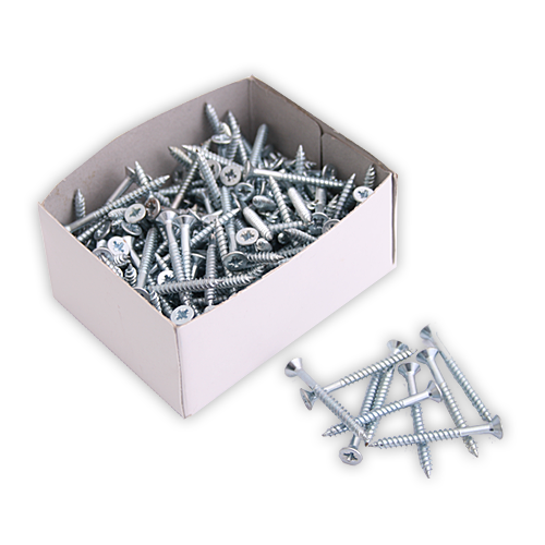 Box of screws various sizes zinc plated