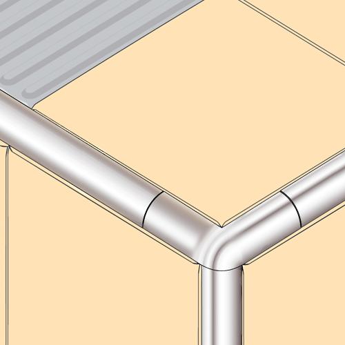9mm Silver Corner Piece